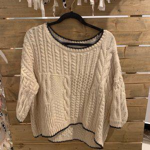 Quarter Sleeve Off White Sweater
